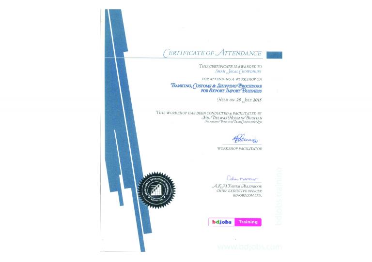BD Jobs Training Certificate -ED-Shah Jalal Chowduryof ED