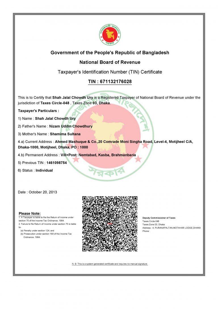 ETIN Certificates ED- Shah Jalal Chowdhury    Tax    STRA    ST Reliance Associates