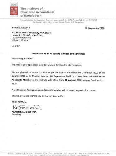 ACA ICAB Membership Certificate of ED- Shah Jalal Chowdury