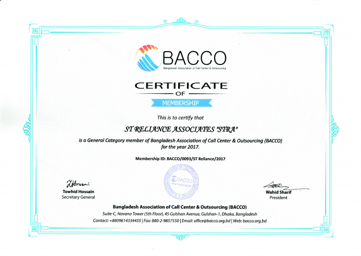 BACCO Membership Certificate- 2017