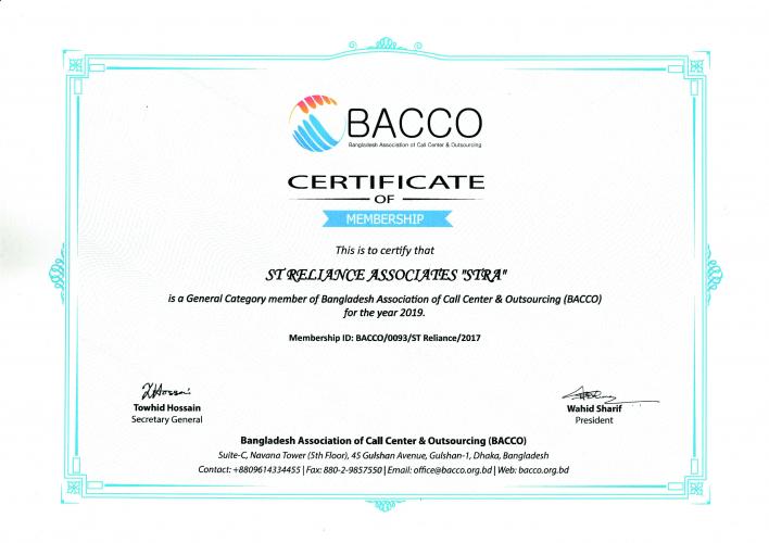 BACCO Membership Certificate-2019