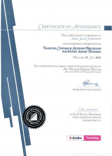 BD Jobs Training Certificate of ED-Shah Jalal Chowdhury