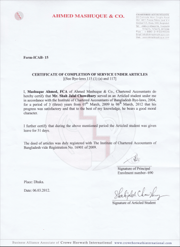 CC certificate of ED- Shah Jalal Chowdury