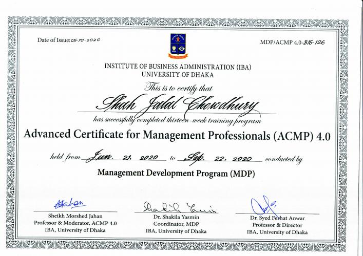 IBA (ACMP) Certificate of Shah jalal Chowdhury
