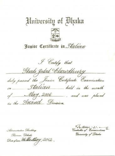 Italian Languages Coruses Certificate of ED- Shah Jalal Chowdhury