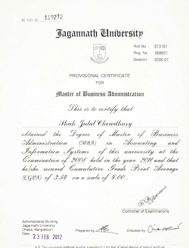 MBA Certificate of ED- Shah Jalal Chowdury