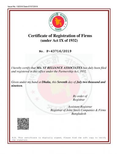 RJSC Firm Reg. Certificate of STRA